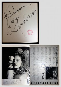 男子專科のお宝、マドンナのキスマークとサイン