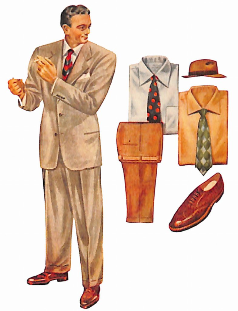 50〜60年代に流行したスーツ・スタイル:ボールドルックの面影残すブラウンスーツ