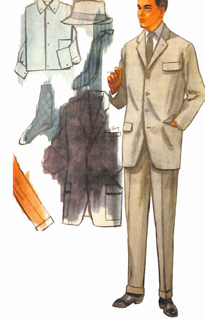 50〜60年代に流行したスーツ・スタイル:グレーの4ボタンスーツ