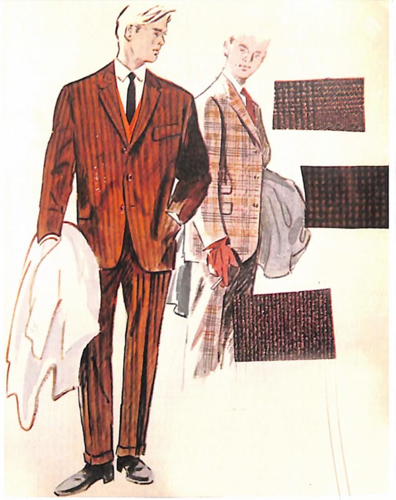 50〜60年代に流行したスーツ・スタイル:茶系のパターンドスーツ2体