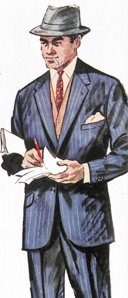 50〜60年代に流行したスーツ・スタイル:茶系の小物を取り入れた紺系スーツ