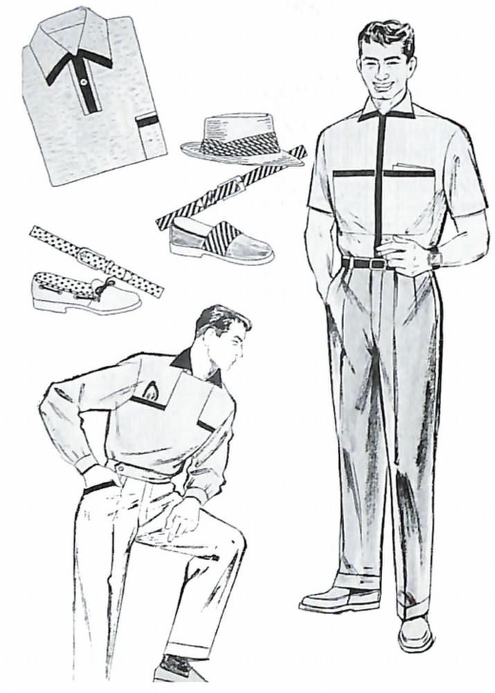 50〜60年代に着こなしスタイル:黒+黄のサマールック