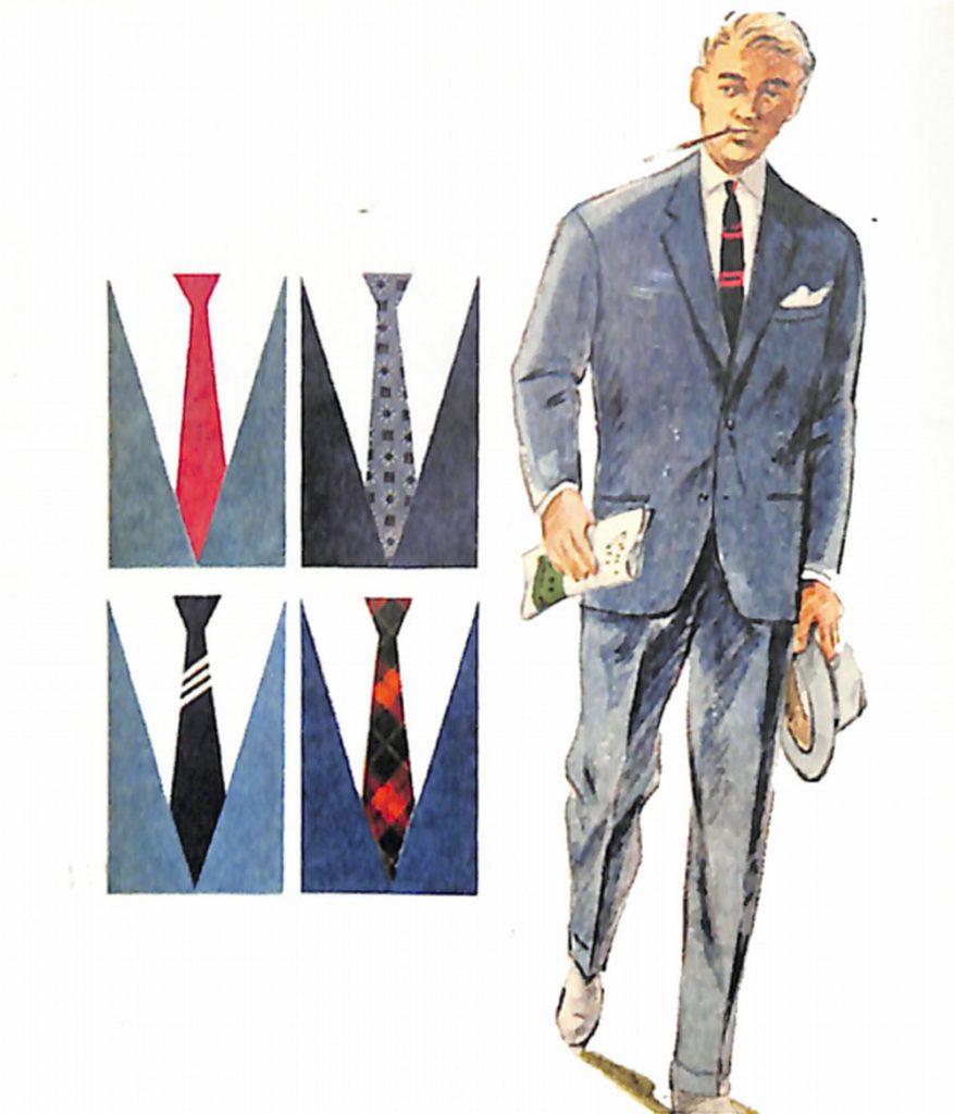 50〜60年代に着こなしスタイル:ブルー・スーツのVゾーン