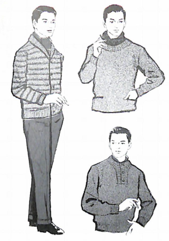 50〜60年代に流行したニット&シャツ・スタイル:セーターにスカーフを演出