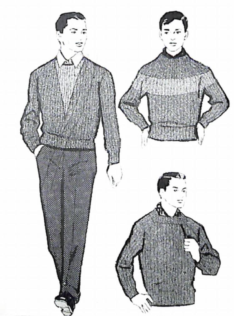 50〜60年代に流行したニット&シャツ・スタイル:セーターにシャツを演出