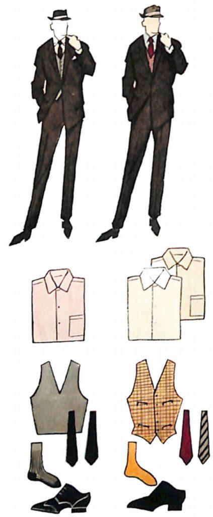 50〜60年代に流行した配色スタイル:ダークブラウンスーツのカラーコーディネート