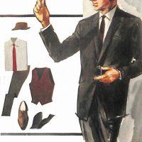 50〜60年代に流行したスーツ・スタイル:Xラインの1ボタンスーツ