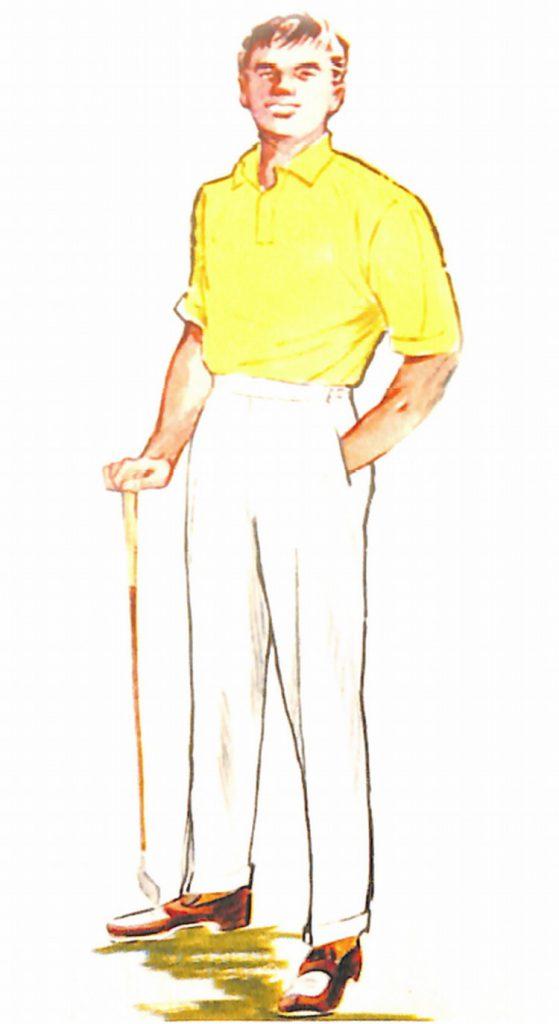 50〜60年代に流行したニット&シャツ・スタイル:白を生かすイエローポロ