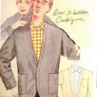 50〜60年代に流行したニット&シャツ・スタイル:ロー3ボタン型カーディガン