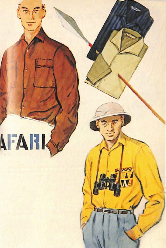50〜60年代に流行したニット&シャツ・スタイル:サファリはいうまでもなく「アフリカ狩猟旅行」を指す